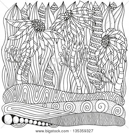 Pattern for coloring book. Ethnic floral retro doodle vector tribal zentangle design elements. Black and white background.