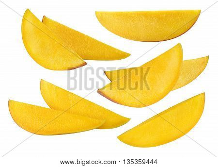Mango long slices set selection isolated on white background as package design element