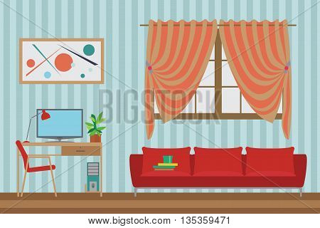 Home Interior flat vector design. Workspace for freelancer and work relax. With Sofa Window Table Chair. Furniture Set
