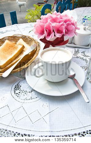 milk and toast in breakfast on table