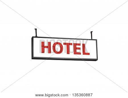 Hotel signboard on white background, stock photo