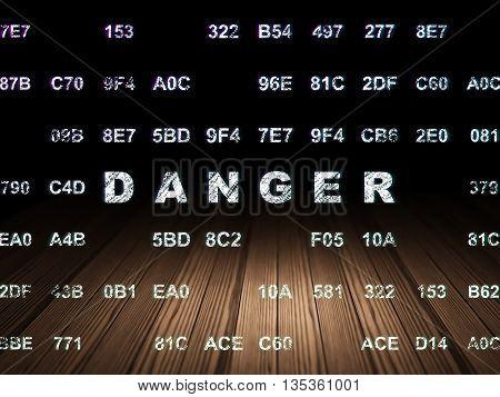 Security concept: Glowing text Danger in grunge dark room with Wooden Floor, black background with Hexadecimal Code