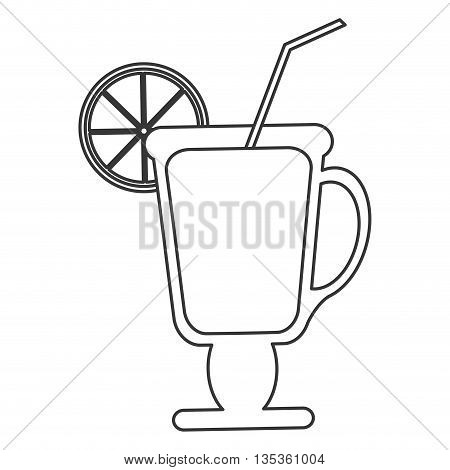 simple black line tropical cocktail with lime on rim and straw vector illustration