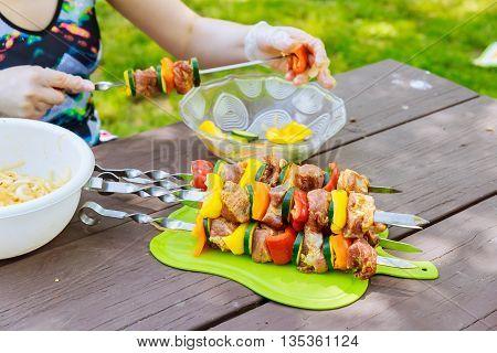 Shish Kebab cooking on the Nature kebab nature