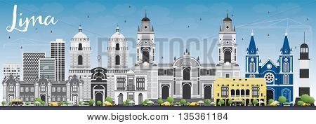 Lima Skyline with Gray Buildings and Blue Sky. Business Travel and Tourism Concept with Lima City. Image for Presentation Banner Placard and Web Site.