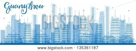 Outline Guangzhou Skyline with Blue Buildings. Business Travel and Tourism Concept with Guangzhou City. Image for Presentation Banner Placard and Web Site.