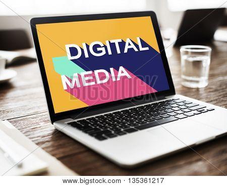 Digital Media Global Internet Sharing Technology Concept