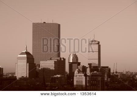 Sunrise Over Boston Sepia