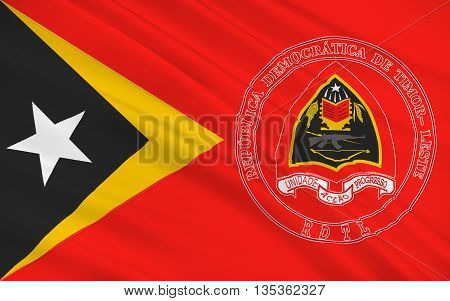 Flag of East Timor or Timor-Leste officially the Democratic Republic of Timor-Leste is a sovereign state in Maritime Southeast Asia. 3d illustration