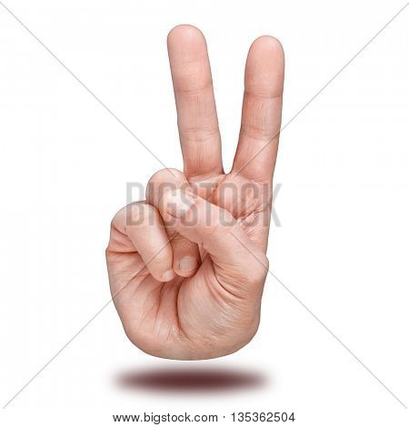 Hand gesture of victory and peace. Isolated over white background.