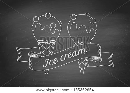 Ice cream scoop in cones and vintage engraving ribbon on black chalk board. Concept design in trendy chalk style for ice cream shop, cafe or menu. Ice cream icon of line graphic. Vector illustration