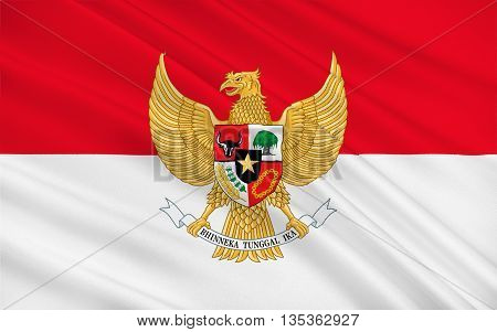 Flag of Indonesia officially the Republic of Indonesia is a country in Southeast Asia. Its capital city is Jakarta. 3D illustration