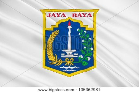 Flag of Jakarta officially known as the Special Capital Region of Jakarta is the capital and largest city of the Republic of Indonesia. 3D illustration