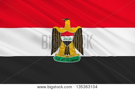 Flag of Iraq officially the Republic of Iraq is a country in Western Asia. 3D illustration