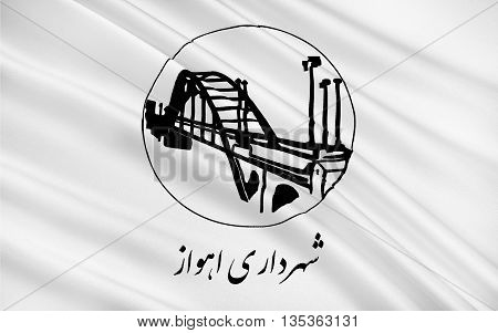 Flag of Ahvaz is a city in the southwest of Iran. 3D illustration