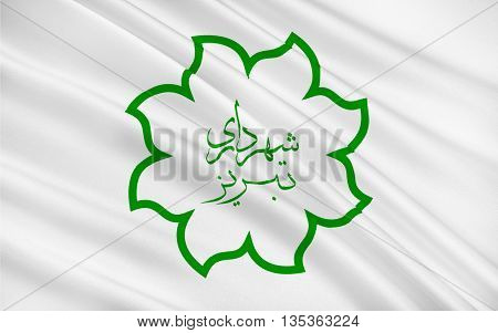 Flag of Tabriz pronounced is the most populated city in the Iranian Azerbaijan one of the historical capitals of Iran and the present capital of East Azerbaijan Province. 3D illustration