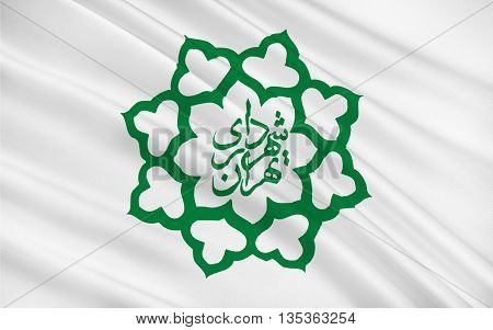 Flag of Tehran is the capital of Iran and Tehran Province. 3D illustration