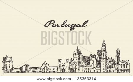 Portugal skyline vintage vector engraved illustration hand drawn sketch