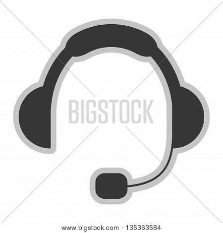simple grey headset icon vector illustration flat style design