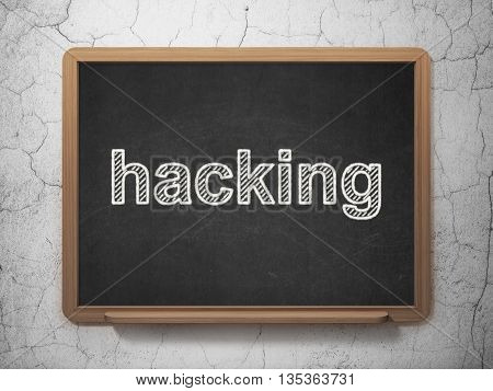 Security concept: text Hacking on Black chalkboard on grunge wall background, 3D rendering