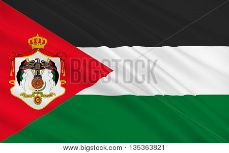 Flag of Jordan officially the Hashemite Kingdom of Jordan is an Arab kingdom in Western Asia on the East Bank of the Jordan River. 3d illustration