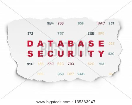 Privacy concept: Painted red text Database Security on Torn Paper background with  Hexadecimal Code