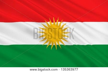 Flag of Kurdistan - ethno-geographical area in the Near East within which Kurds constitute an absolute or relative majority of the population. 3d illustration