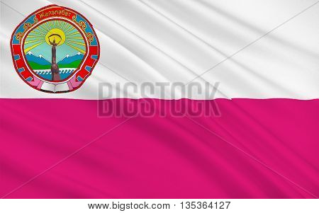 Flag of Jalal-Abad is the administrative and economic centre of Jalal-Abad Region in southwestern Kyrgyzstan. 3d illustration