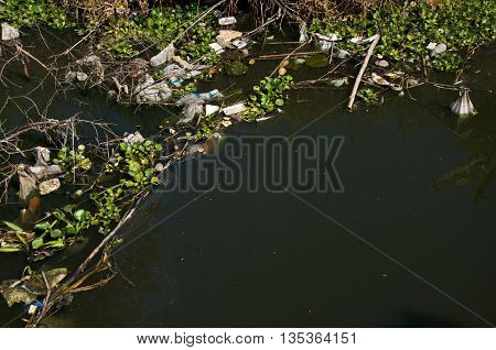 Water pollution / garbage in river in Thailand