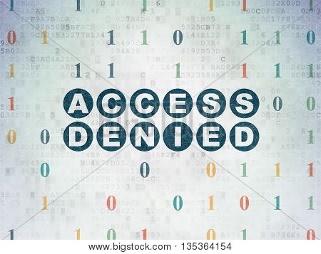 Privacy concept: Painted blue text Access Denied on Digital Data Paper background with Binary Code