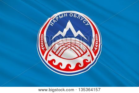 Flag of Naryn Region is the largest region (oblast) of Kyrgyzstan. 3d illustration