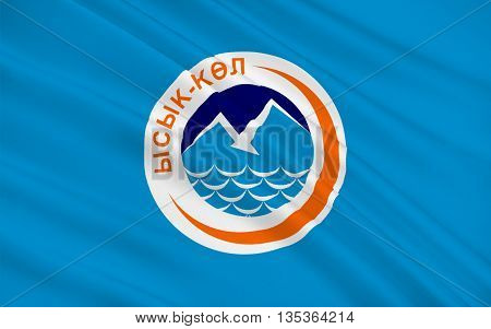 Flag of Issyk-Kul Region is one of the regions of Kyrgyzstan. Its capital is Karakol. 3d illustration