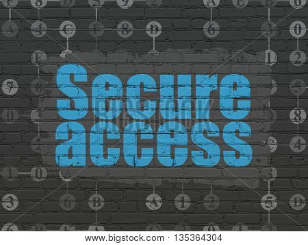 Security concept: Painted blue text Secure Access on Black Brick wall background with Scheme Of Hexadecimal Code