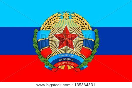 Flag of Luhansk Peoples Republic (LPR or LNR) also known as Lugansk Peoples Republic is a self-proclaimed state in eastern Ukraine.