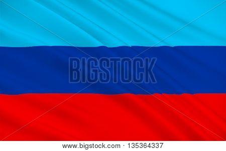 Flag of Luhansk Peoples Republic (LPR or LNR) also known as Lugansk Peoples Republic is a self-proclaimed state in eastern Ukraine. 3d illustration