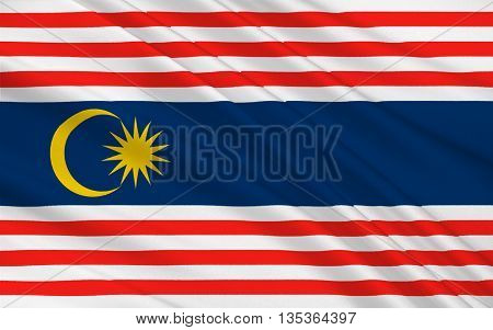 Flag of Kuala Lumpur is the national capital and most populous global city in Malaysia. 3D illustration