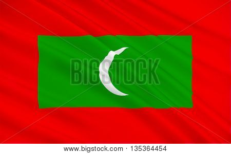 Flag of Maldives officially the Republic of Maldives is an island country and archipelago in the Indian Ocean. 3d illustration
