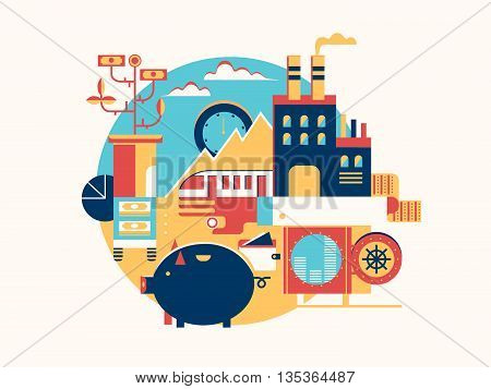 Investing in business icon flat. Money finance management and success strategy, vetor illustration