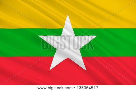 Flag of Myanmar officially the Republic of the Union of Myanmar and also known as Burma is a sovereign state in Southeast Asia. 3D illustration