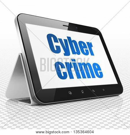 Safety concept: Tablet Computer with blue text Cyber Crime on display, 3D rendering