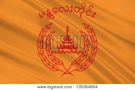 Flag of Mandalay Region is an administrative division of Myanmar. 3D illustration