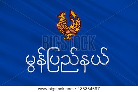 Flag of Mon State is an administrative division of Myanmar. 3D illustration
