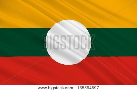 Flag of Shan State is a state of Myanmar. 3D illustration