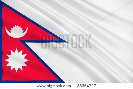Flag of Nepal officially the Federal Democratic Republic of Nepal is a federal republic and landlocked country in South Asia. 3D illustration