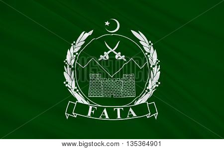 Flag of Federally Administered Tribal Areas is a semi-autonomous tribal region in northwestern Pakistan. 3D illustration