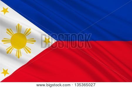Flag of Philippines officially known as the Republic of the Philippines is a sovereign island country in Southeast Asia situated in the western Pacific Ocean. 3D illustration