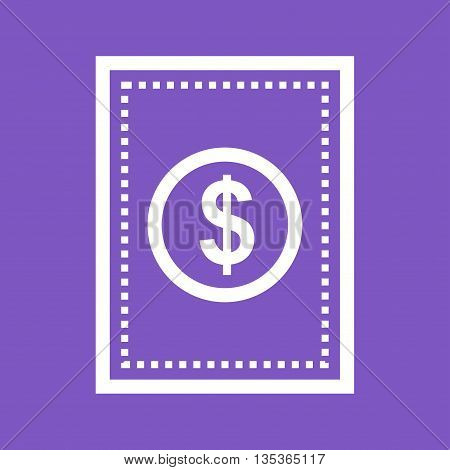 Dollar, cash, receipt, icon vector image.Can also be used for finances trade. Suitable for web apps, mobile apps and print media.