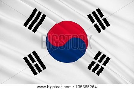 Flag of South Korea officially the Republic of Korea is a sovereign state in East Asia constituting the southern part of the Korean Peninsula. 3D illustration