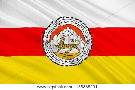 Flag of South Ossetia or Tskhinvali Region is a partially recognised state in the South Caucasus located in the territory of the South Ossetian Autonomous Oblast. 3d illustration