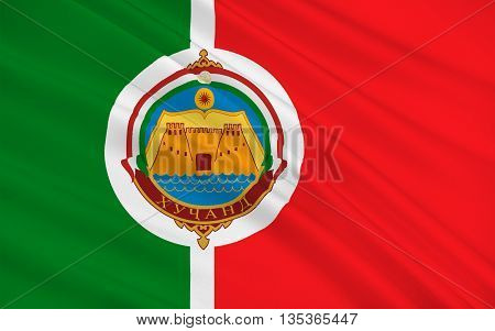 Flag of Khujand formerly Khodjend or Khodzhent is the second-largest city of Tajikistan and the capital of northernmost province of Tajikistan now called Sughd. 3d illustration
